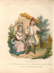 [STROJE polskie - Proszowiacy]. Plansza z albumu Leona Zienkowicza Les costumes du peuple polonais (Paryż 1841). Litografia kolorowana form. ca 20x18 na ark. 29,5x23 cm.