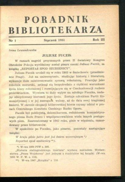 Poradnik Bibliotekarza. Rok 3-4: 1951-1952.