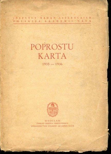 Winkiel Barbara - Poprostu - Karta 1935-1936