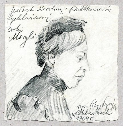 [Mickiewicz Adam - dalekie okolice]. Ołówkowy portret Karoliny Rychlewiczowej z 1909 r.