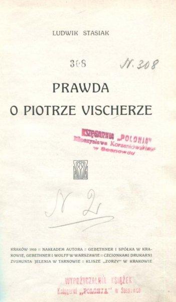 Stasiak  Ludwik - Prawda o Piotrze Vischerze