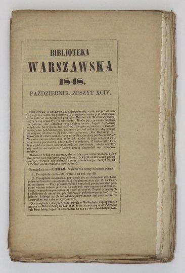 BIBLIOTEKA Warszawska.Pismo poświęcone naukom, sztukom i przemysłowi. R. 1848, t. 4, zesz. 94: X 1848.