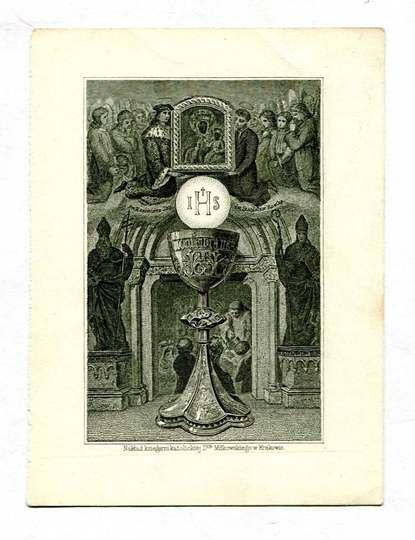 I H S. [ca 1900?]. (Św. Kazimierz i św. Stanisław Kostka klęczą w otoczeniu aniołów podtrzymując obraz Matki Boskiej Częstochowskiej)