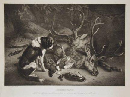 Hirschpark. Litografia Juliusa Adama wg obrazu Beno Adama