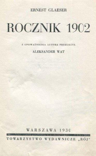 Glaeser Ernest - Rocznik 1902.