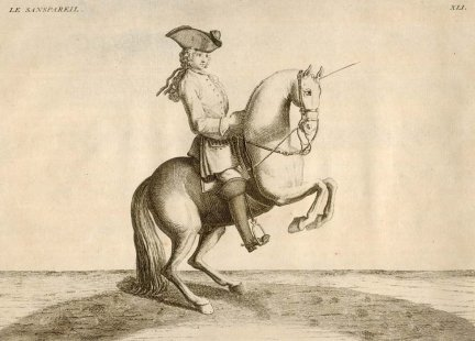 EISENBERG - L'Art de Monter a Cheval, ou Description du Manege Moderne, dans sa Perfection [...]. Ecrit et Dessine par ..., et Grave par B. Picart. Amsterdam et Leipzig 1759. Chez Arkstee et Merkus.  - Le Sanspareil. Miedzioryt czarno-bialy form. 22,5x30,