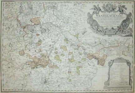 ŚLĄSK. Principatus Silesiae Wratislaviensis exactissima Tabula Geographica [...]. Miedzioryt kolorowany.