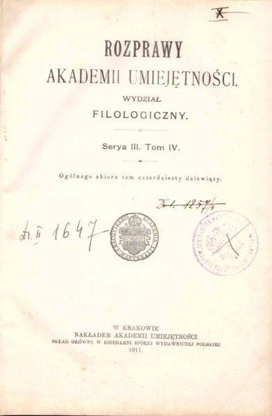 Rozprawy Akademii Umiejętności, Wydział Filologiczny, S.III, t.4