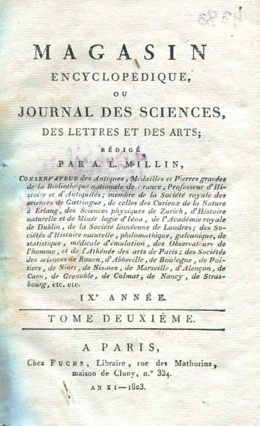 Magasin Encyclopedique ou Journal des Sciences, des Lettres at des Arts. R. 9, t. 2