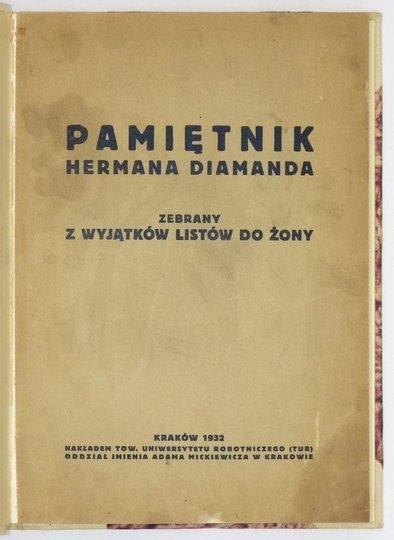 DIAMAND Herman - Pamiętnik ... zebrany z wyjątków listów do żony.