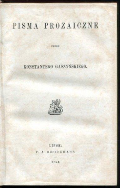 Gaszyński Konstanty - Pisma prozaiczne