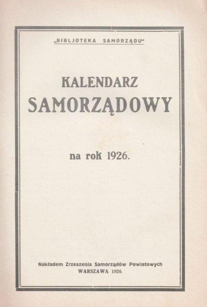 Kalendarz samorządowy na rok 1926