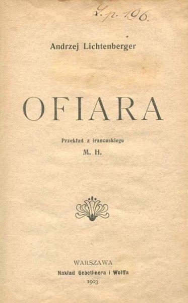 Lichtenberger Andrzej - Ofiara.