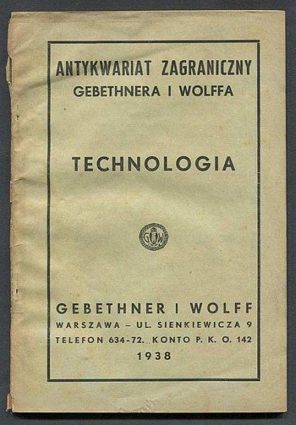 [Katalog]. Antykwariat Zagraniczny Gebethnera i Wolffa. Technologia.