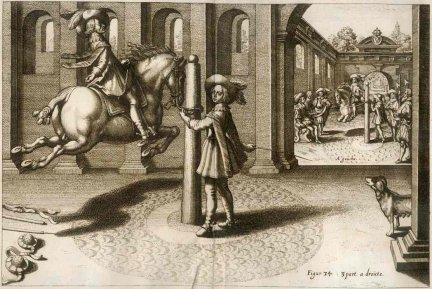 PLUVINEL Antoine de - L'Instruction du Roy, en L'Exercice de Monter a Cheval, par ... Franckfurt am Mayn 1670. In Verlagung Matthaei Merians.  [RYCINA]. Miedzioryt czarno-biały form. 20x30 cm na planszy form. 31x36,7 cm.