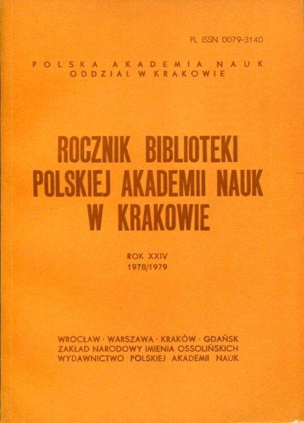Rocznik Biblioteki PAN w Krakowie. R. 24: 1978/1979