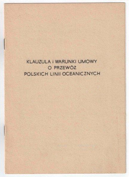 Klauzula i warunki umowy o przewóz Polskich Linii Oceanicznych 1969