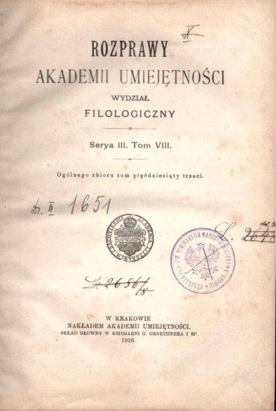 Rozprawy Akademii Umiejętności, Wydział Filologiczny, S.III, t.8