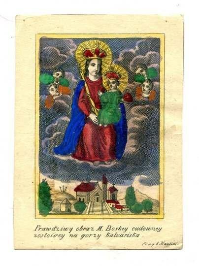 PRAWDZIWYobraz M. Boskiey cudowney zostoiocy na gorzy Kalvariska. [nie przed 1882]. (sylwetka Matki Boskiej z Dzieciątkiem z obrazu w Kalwarii Pacławskiej)