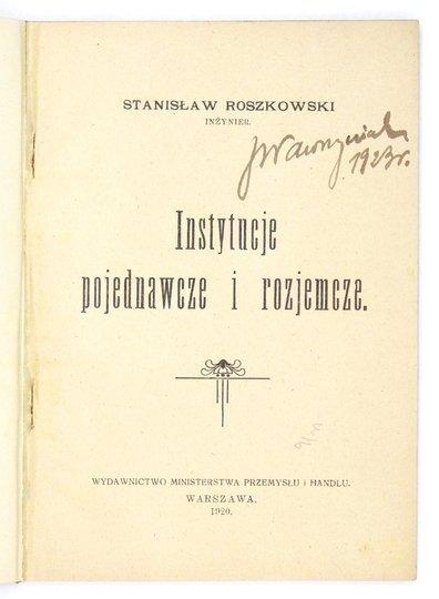 ROSZKOWSKI Stanisław - Instytucje pojednawcze i rozjemcze.