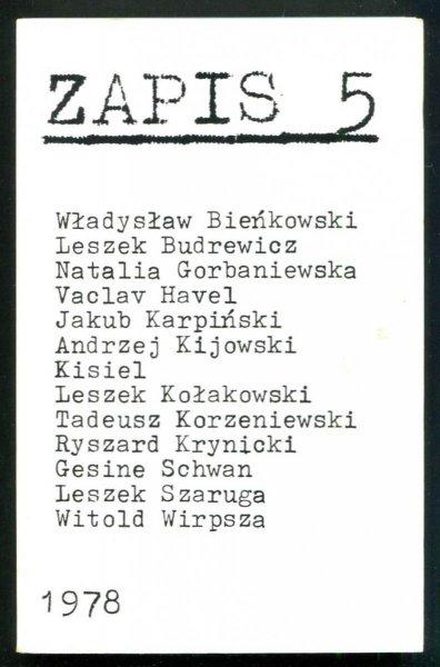 Zapis: poezja, proza, eseje, kronika. [R. 2], nr 5: I 1978.