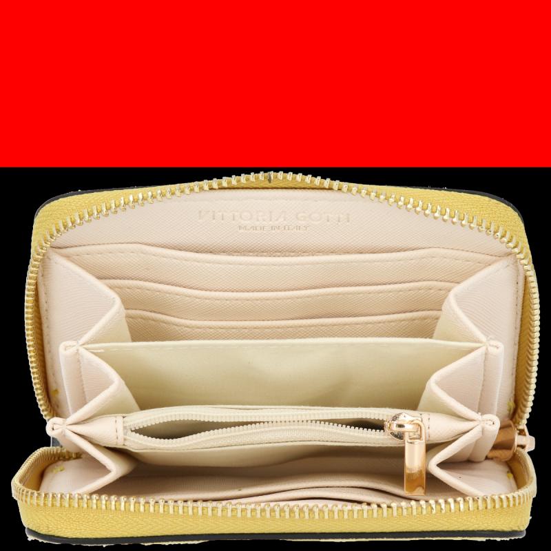 Portfel Skórzany VITTORIA GOTTI Made in Italy Żółty
