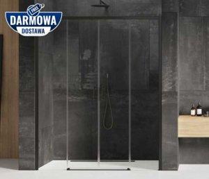 NEW TRENDY - Drzwi wnękowe prysznicowe przesuwne PRIME BLACK Rozmiary 130-190 cm