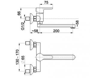ARMATURA KRAKÓW - bateria zlewozmywakowa ścienna GRANAT 5520-910-00