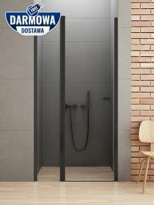 NEW TRENDY Drzwi wnękowe prysznicowe otwierane na zewnątrz i do wewnątrz NEW SOLEO BLACK 90X195 D-0241A