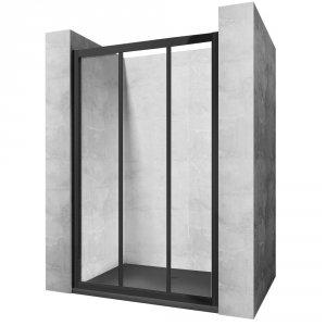 REA - Drzwi prysznicowe przesuwne ALEX BLACK 90cm