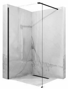 REA - Ścianka kabina prysznicowa WALK-IN AERO BLACK 90cm