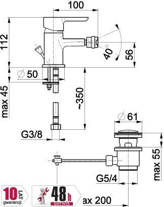 ARMATURA KRAKÓW - bateria bidetowa GRANAT 5527-015-00