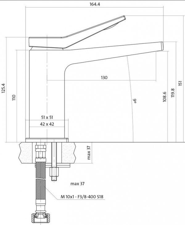 CERSANIT - Bateria umywalkowa stojąca z korkiem CROMO Solution S951-050