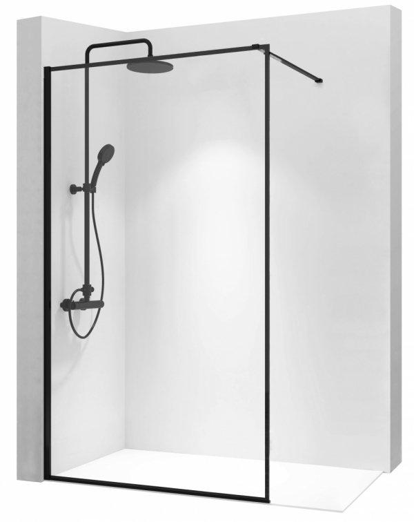 REA - Ścianka prysznicowa BLER 100 cm black/czarna