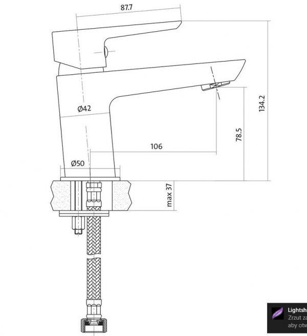 CERSANIT - Bateria umywalkowa stojąca z korkiem MILLE CHROM Solution S951-045
