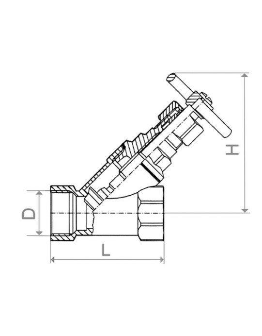 ARMATURA KRAKÓW - Zawór parowy skośny żeliwny 1/2 191-010-15