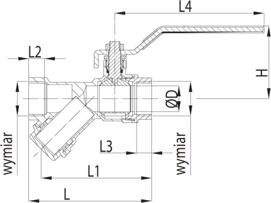 ARMATURA KRAKÓW -zawór wodny z filtrem skośnym, z dźwignią i z dławikiem 708-010-40