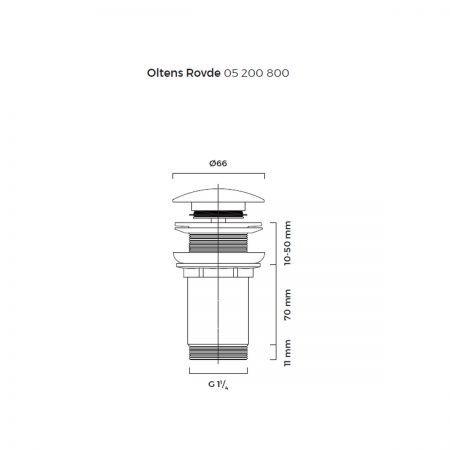 Oltens Rovde korek do umywalki klik klak okrągły bez przelewu G1 1/4 złoty 05200800
