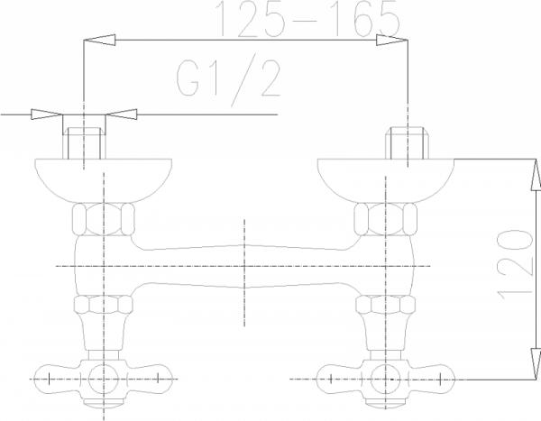 ARMATURA KRAKÓW - Retro Bateria natryskowa z natryskiem przesuwnym 376-340-00