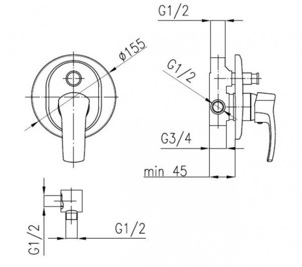 """ARMATURA KRAKÓW - Zawór wodny kątowy przepływowy do baterii stojących uchwyt typu """"walec"""" 244-140-00"""