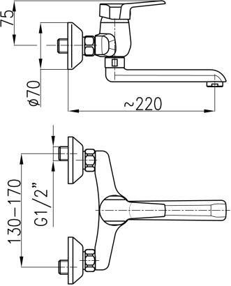 ARMATURA KRAKÓW - Beryl Bateria jednouchwytowa, umywalkowa ścienna 4800-810-00