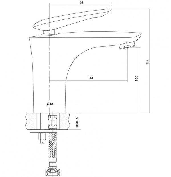 CERSANIT - Bateria umywalkowa stojąca MAYO z korkiem klik-klak DESIGN S951-052