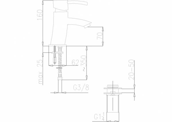 ARMATURA KRAKÓW - Diament Bateria umywalkowa stojąca 4102-811-00