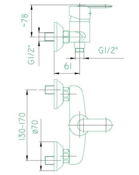 ARMATURA KRAKÓW - CYRKON bateria natryskowa ścienna 586-010-00