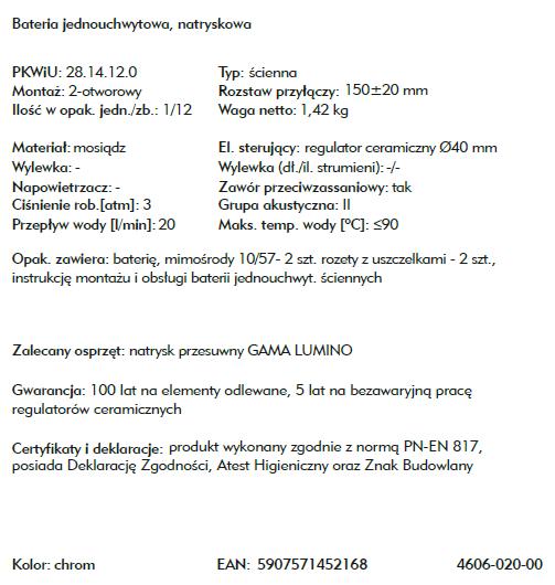 ARMATURA KRAKÓW bateria umywalkowa ATRIA 4602-825-00