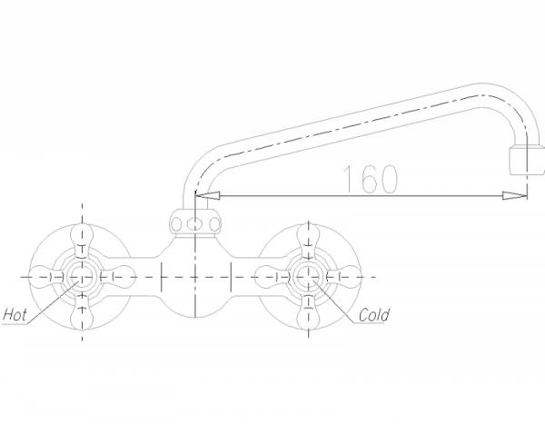ARMATURA KRAKÓW - Retro Classic Bateria umywalkowa ścienna 380-320-00