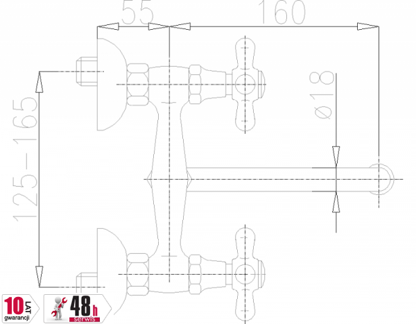 ARMATURA KRAKÓW - Retro Bateria zlewozmywakowa ścienna 370-440-00