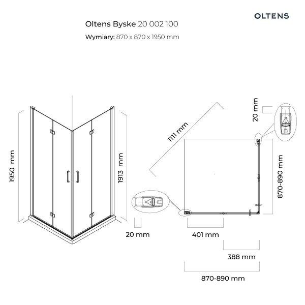 OLTENS Kabina prysznicowa kwadratowa 90x90 BYSKE 20002100