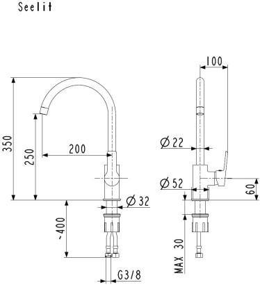 ARMATURA KRAKÓW - SEELIT bateria zlewozmywakowa stojąca boczna 5813-815-00