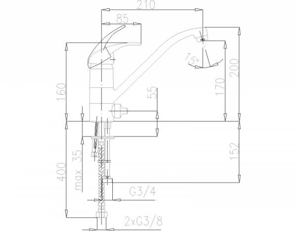 ARMATURA KRAKÓW - Nefryt zlewozmywakowa z dodatkowym przyłączem G 3/4 503-813-00